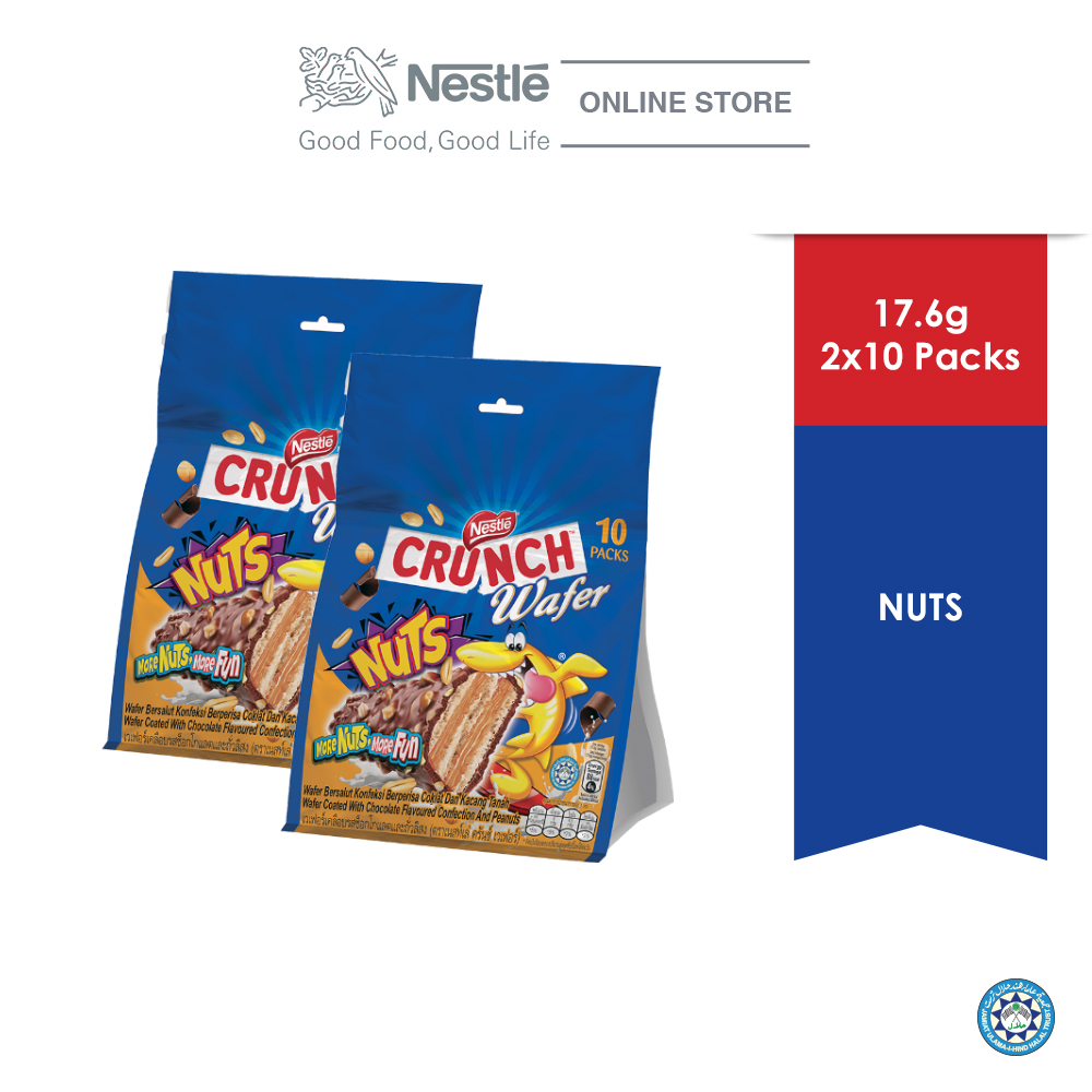NESTLE CRUNCH Wafer Nut Sharebag 10sticks, 17.6g, Bundle of 2