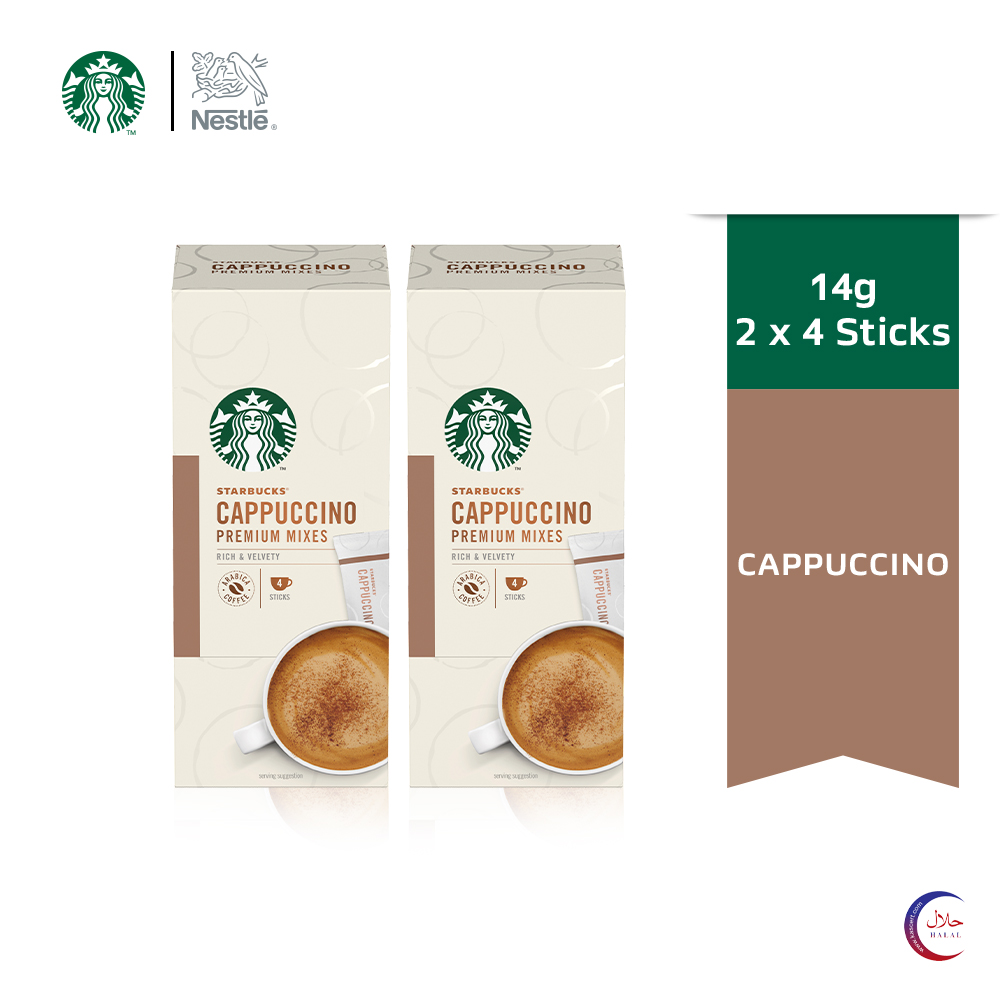 STARBUCKS® Cappuccino Premium Instant Coffee Mixes (4 Sticks/Box), Bundle of 2