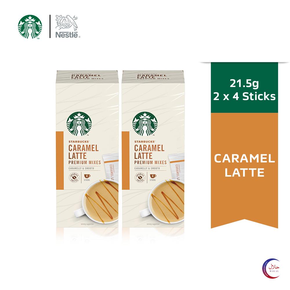 STARBUCKS® Caramel Latte Premium Instant Coffee Mixes (4 Sticks/Box), Bundle of 2