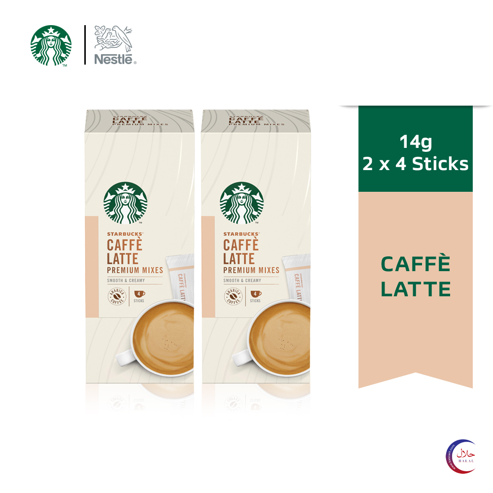 STARBUCKS® Latte Premium Instant Coffee Mixes (4 Sticks/Box), Bundle of 2