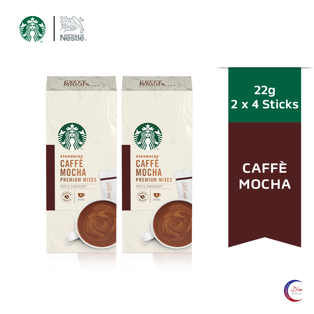 STARBUCKS® Caffè Mocha Premium Instant Coffee Mixes (4 Sticks/Box), Bundle of 2 ExpDate:DEC20