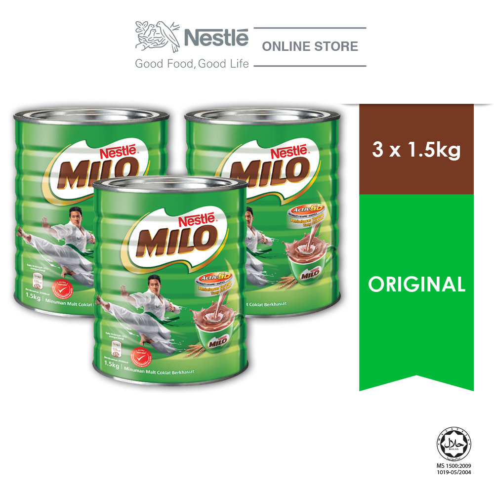 NESTLE MILO ACTIVE -GO CHOCOLATE MALT POWER TIN 1.5 kg, Bundle of 3
