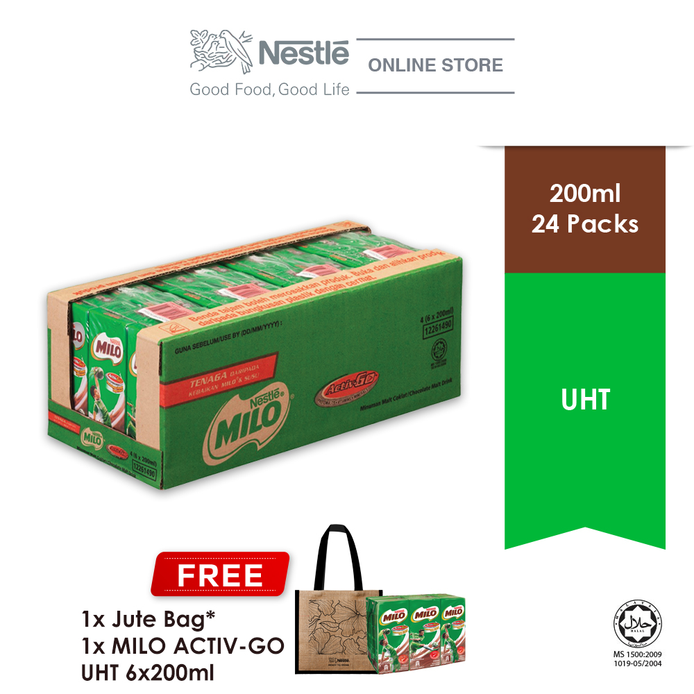 Nestle Milo UHT 24x200ml, Buy 1 Carton Free 6 Milo UHT 200ml &  1 Jute Bag