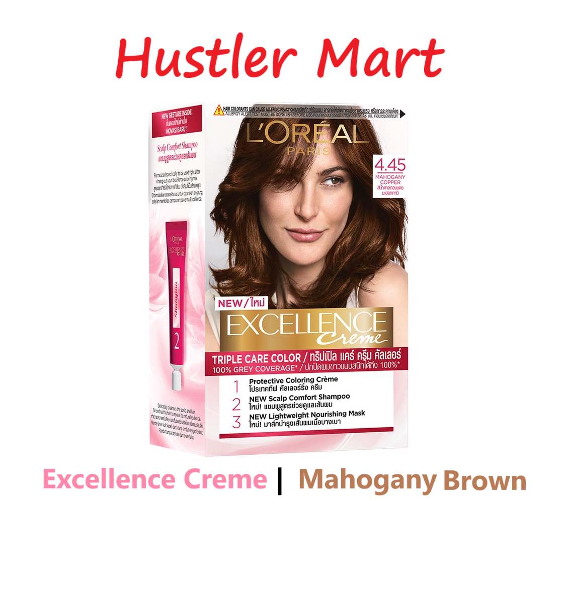 LOreal Paris Excellence Creme Triple Care Hair Color - Mahogany Copper Brown 4.45