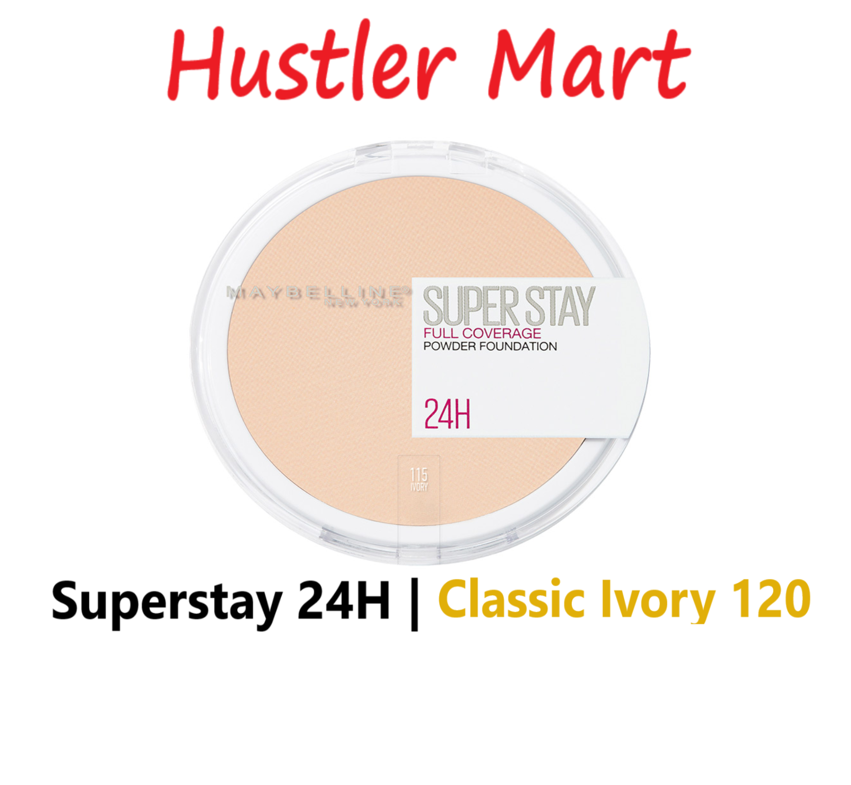 Maybelline Superstay 24H Full Coverage Powder Foundation - Classic Ivory 120