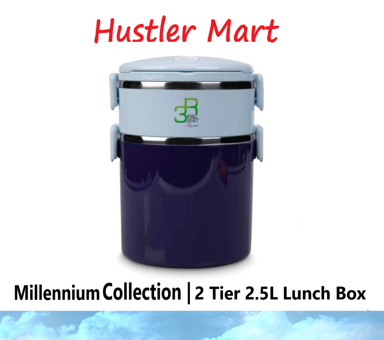 La Gourmet New Millennium 2 Tier 2.5L Lunch Box - Blue