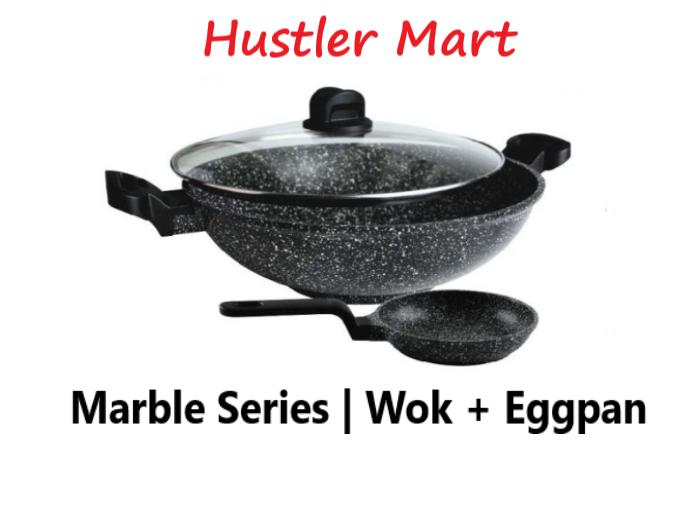 La gourmet Shogun 32cm Marble Wok IH with 14cm Egg Pan