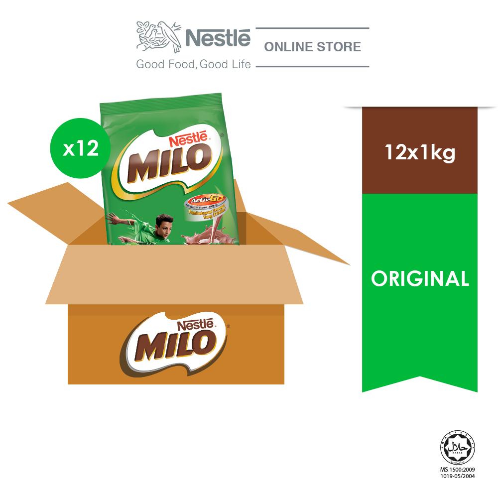NESTLÉ MILO ACTIV-GO CHOCOLATE MALT POWDER Soft Pack 1kg x 12 packs (Carton)