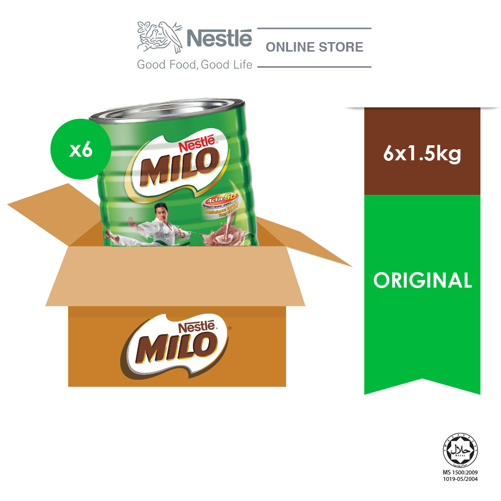 NESTLÉ MILO ACTIV-GO CHOCOLATE MALT POWDER Soft Pack 1.5kg x 6 tins (Carton)