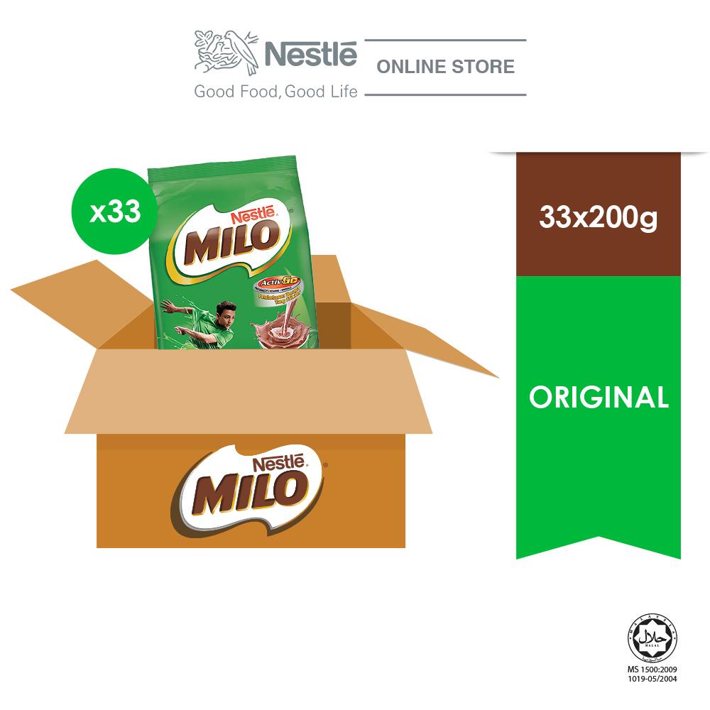 NESTLÉ MILO ACTIV-GO CHOCOLATE MALT POWDER Soft Pack 200g x 33 packs (Carton)