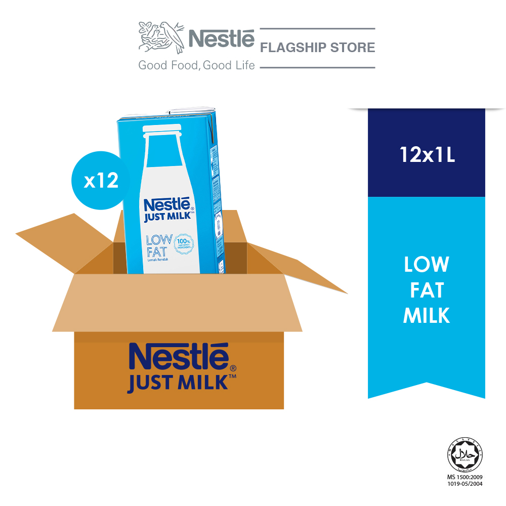 NESTLE JUST MILK Low Fat Milk 1L x 12packs (Carton)