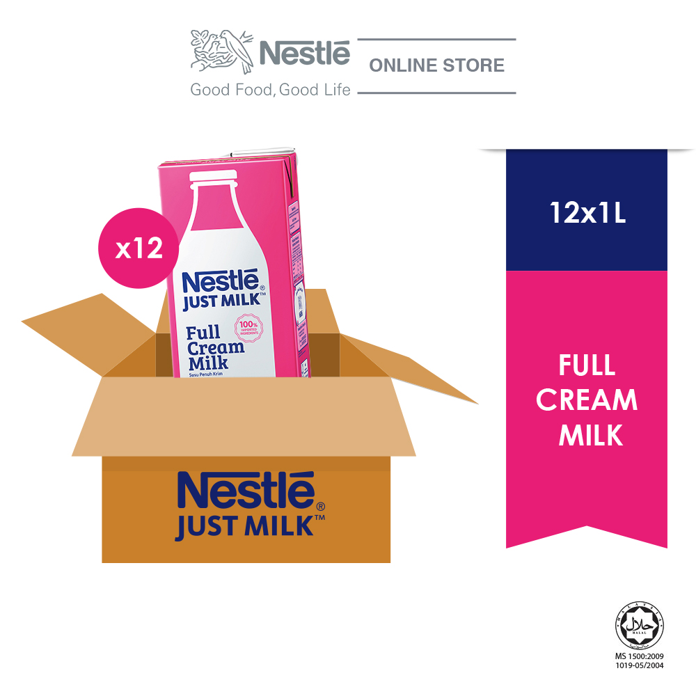 NESTLE JUST MILK Full Cream 1L x 12packs (Carton)