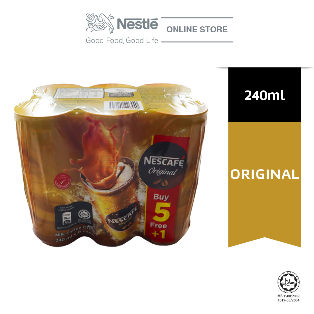 Nescafe Original Coffee Can 5+1, 240ml ExpDate:SEP20