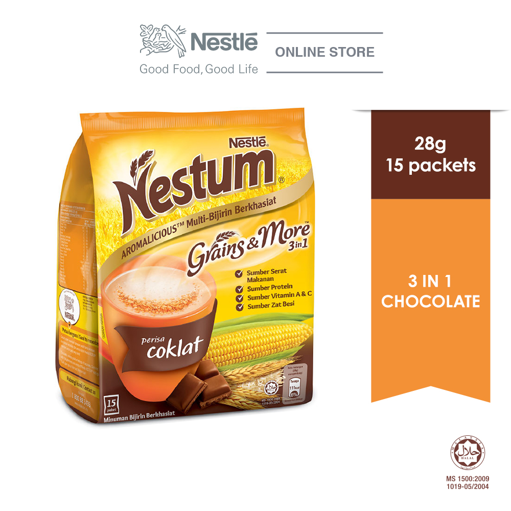 NESTLÉ NESTUM Grains & More 3in1 Chocolate 15 Packets 28g
