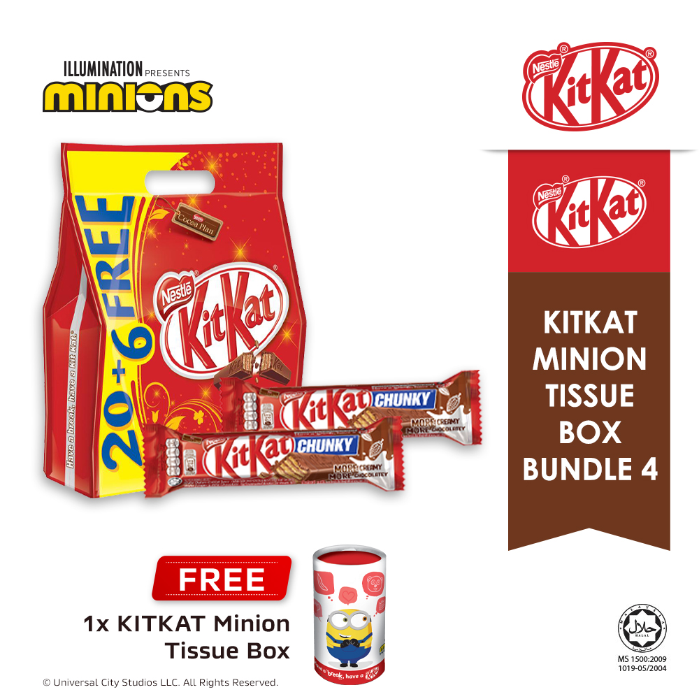 Nestle KITKAT 2F Chocolate Sharebag 20+6 & Chunky Bundle, Buy 1 Free 1 Minion Tissue Box