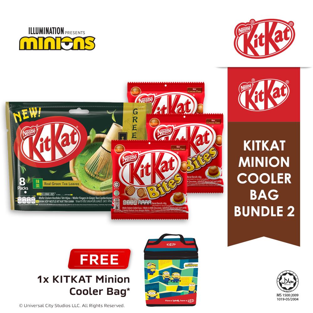 Nestle KITKAT 2F Green Tea  Chocolate Sharebag & Bites Bundle, Buy 1 Free 1 Minion Cooler Bag