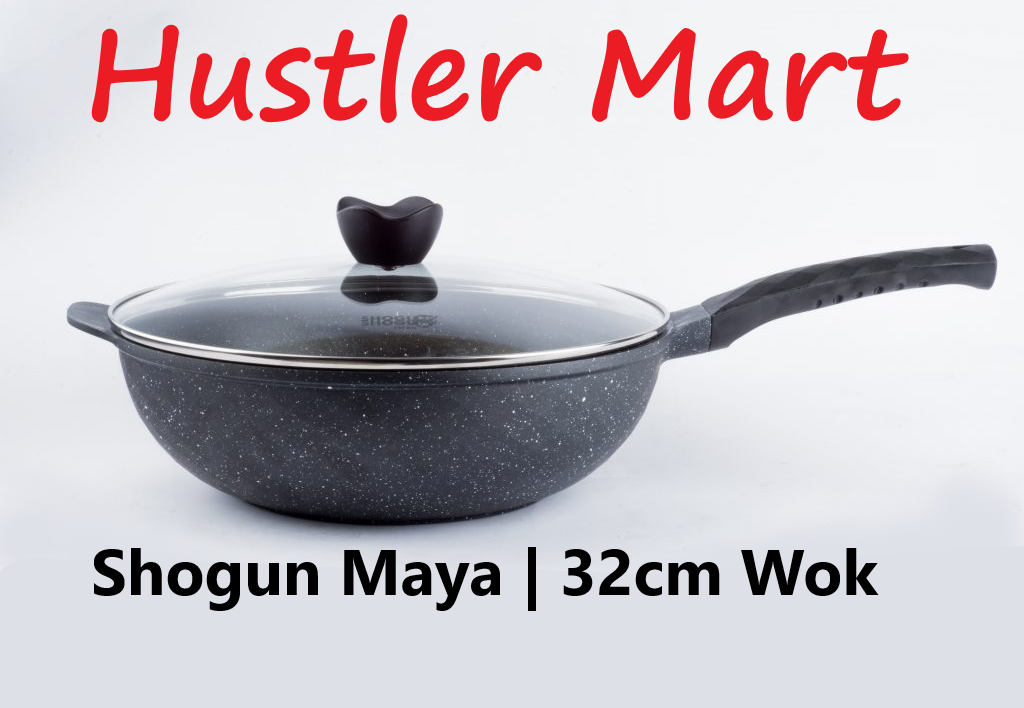 La gourmet Shogun Maya 32 x 10cm Wok with glass lid