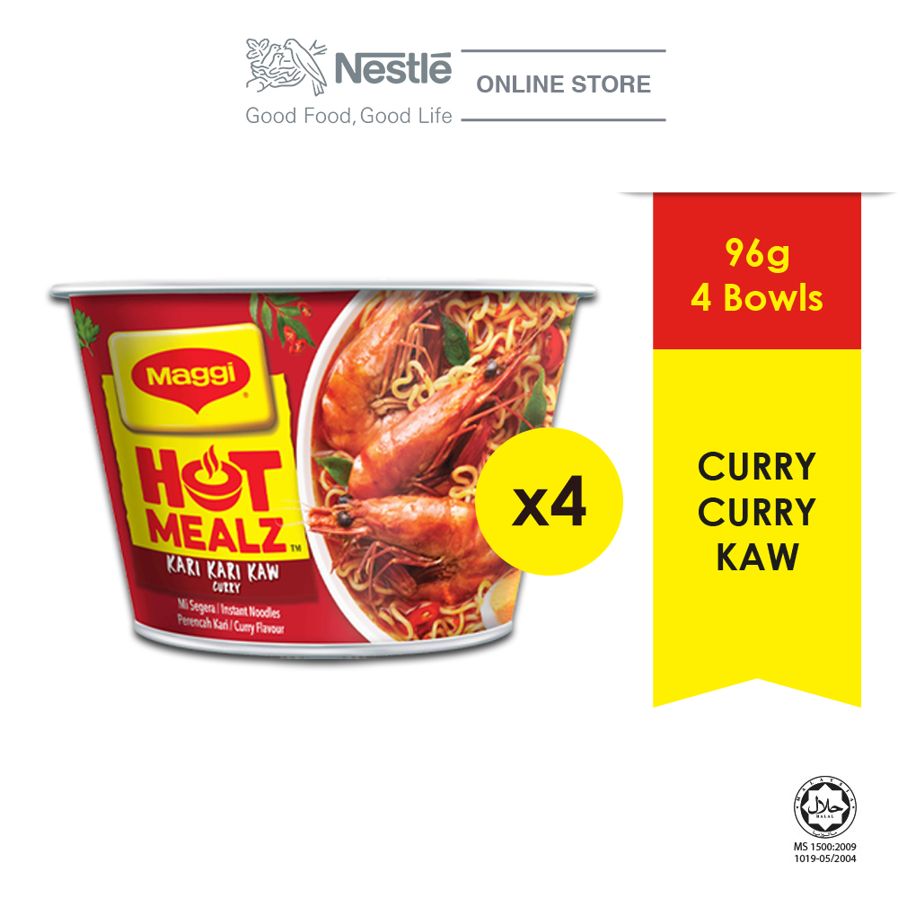 MAGGI Hot Mealz Kari Kari Kaw 1 Bowl, 89g Each x 4bowls ExpDate:DEC'20