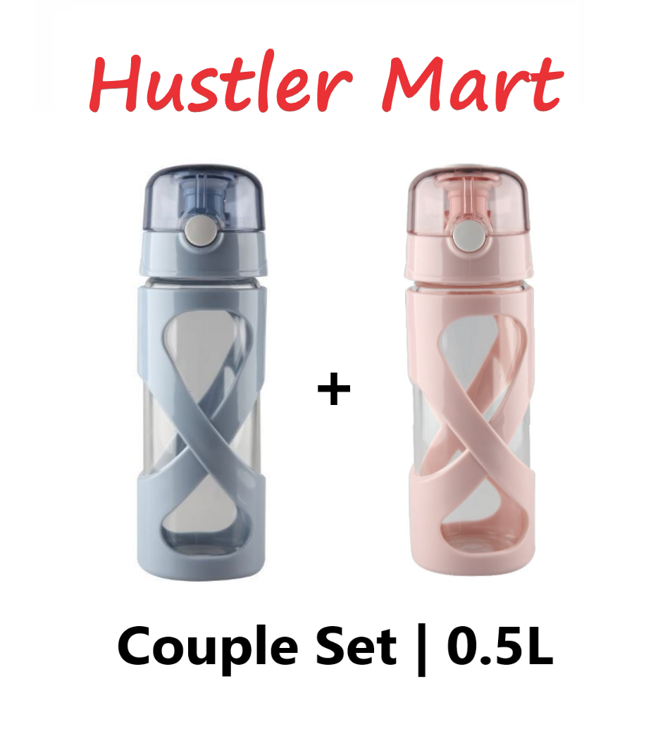 La Gourmet Couple Set Pureglas 0.5L Borosilicate Glass Bottle - Blue & Pink