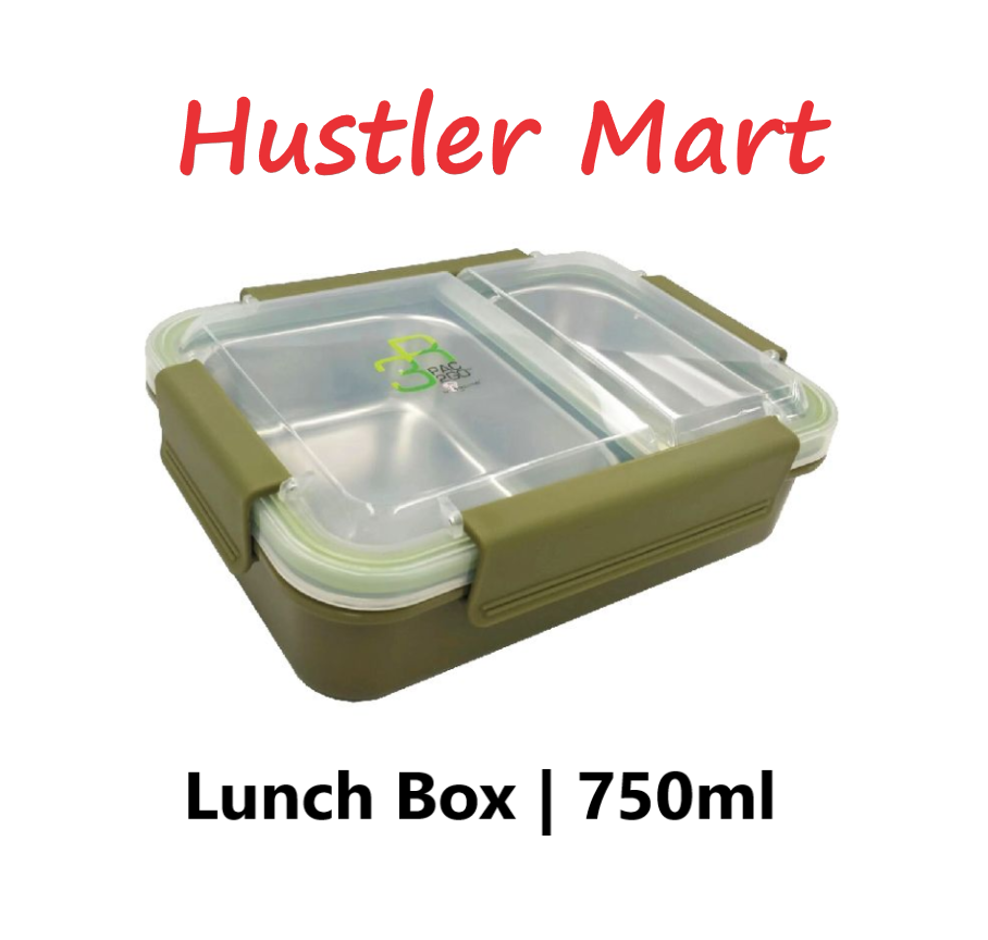 La Gourmet PAC2GO Sassy Collection 750ml 2 Compartment Lunch Box with Clip - Army Green