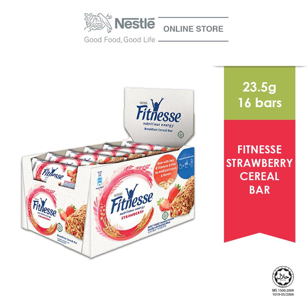 NESTLE Strawberry Fitnesse Breakfast Cereal Bar 16 Bars 23.5g Each