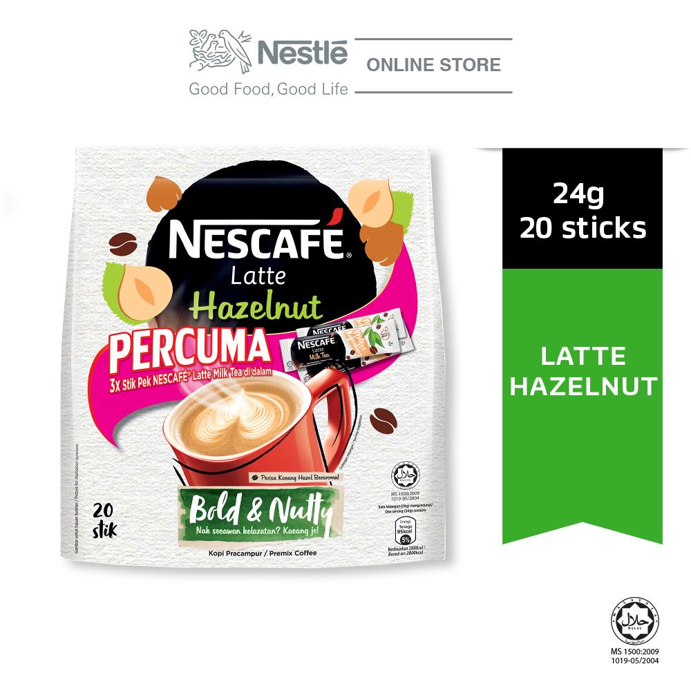 Nescafe Latte Hazelnut 20x24g Free 3Sticks Latte Milk Tea