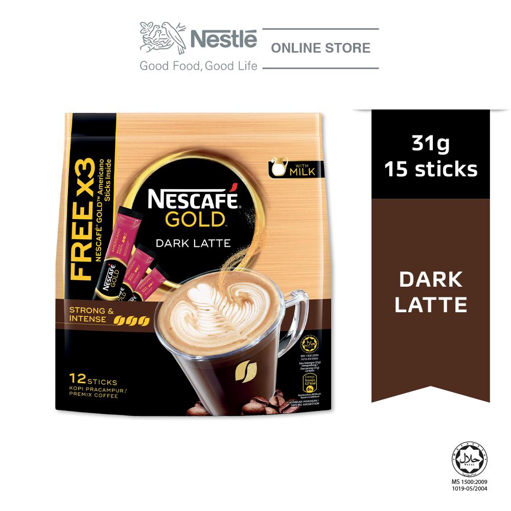 Nescafe Gold Dark Latte 12x31g Free 3Sticks Gold Americano
