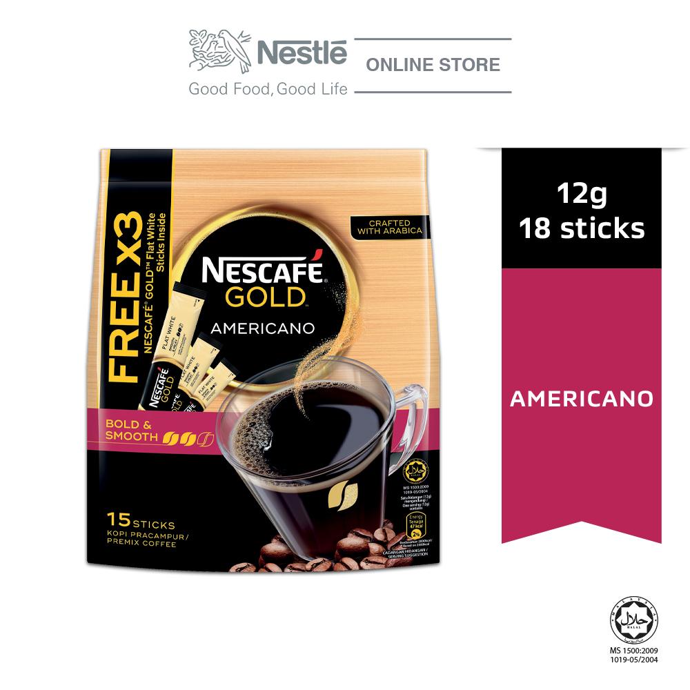 Nescafe Gold Americano 15x12g Free 3sticks Gold Flat White