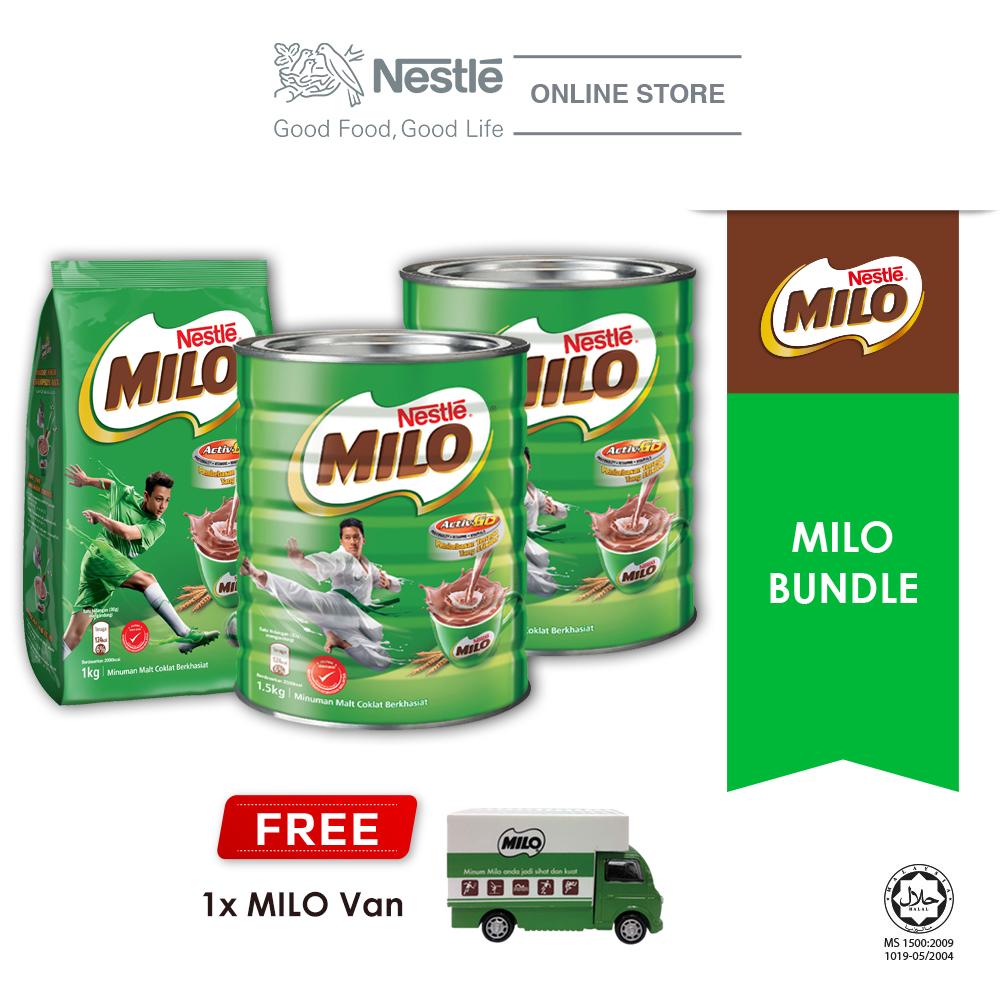 NESTLÉ MILO ACTIV-GO CHOCOLATE MALT POWDER Bundle, Buy 1 Free 1 Milo Van