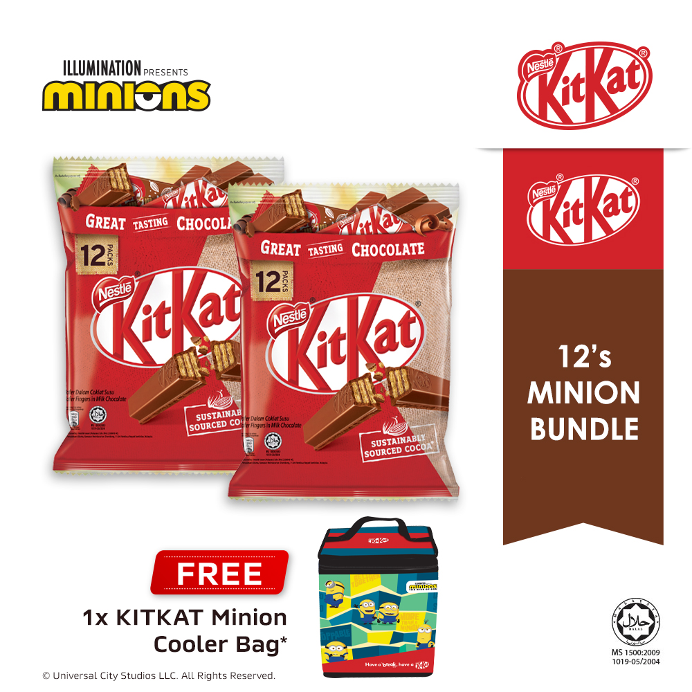 NESTLÉ KITKAT 2F Chocolate Share Bag 12s, Buy 2 Free 1 Minion Cooler Bag (Exp Date:Nov 2020)
