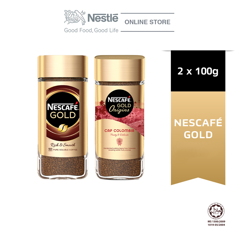 Nescafe Gold Jar 100g and Nescafe Gold Colombia Coffee 100g Bundle