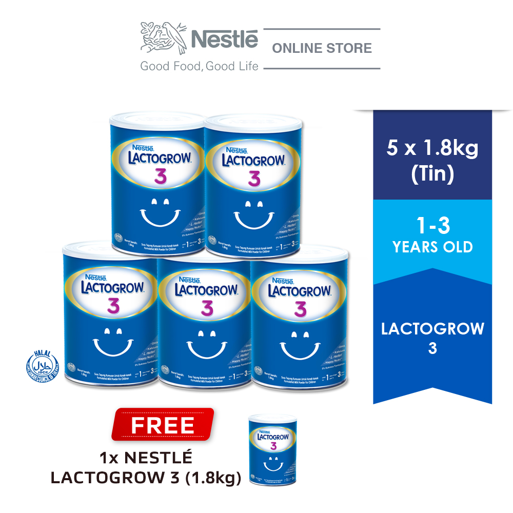 Nestle Lactogrow 3 Milk Powder 1.8kg, Buy 5 Free 1