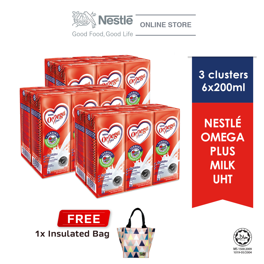 Nestle Omega PLUS UHT 6x200ml cluster Buy 3 Free Insulated Bag