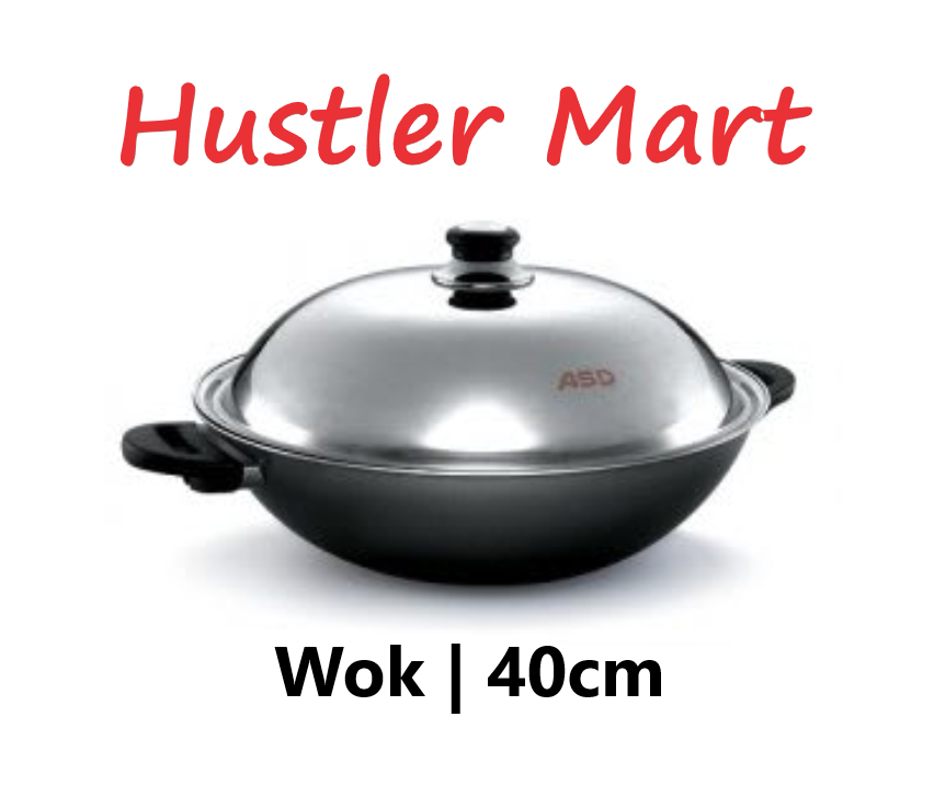 ASD 40cm Induction Hard Anodized Wok with Steamer & Stainless Steel Cover