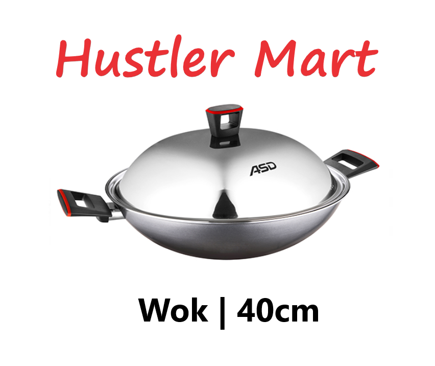 ASD Gusto Red 40cm Non-Stick Jumbo Chef Wok + Stainless Steel Cover