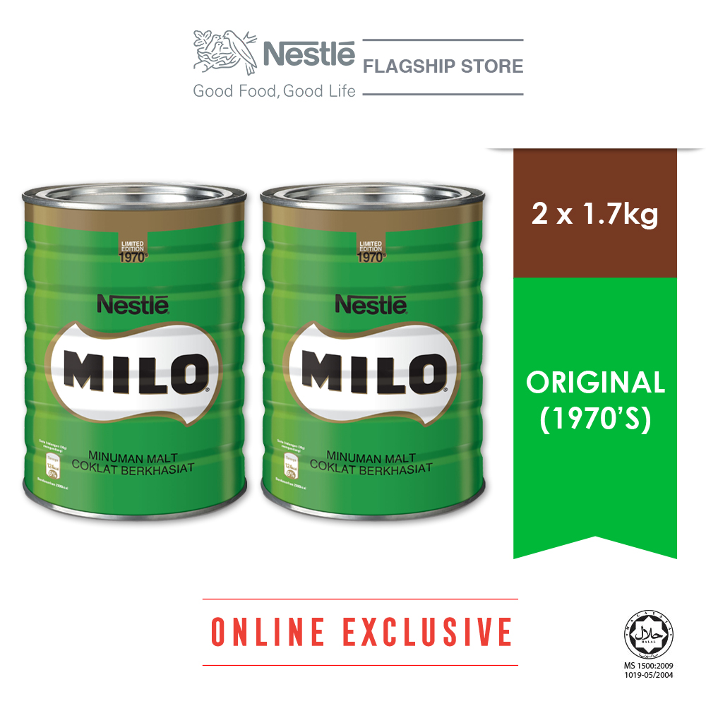 Nestle MILO Activ-go Vintage 1970s 1.7kg Bonus Pack, Bundle of 2