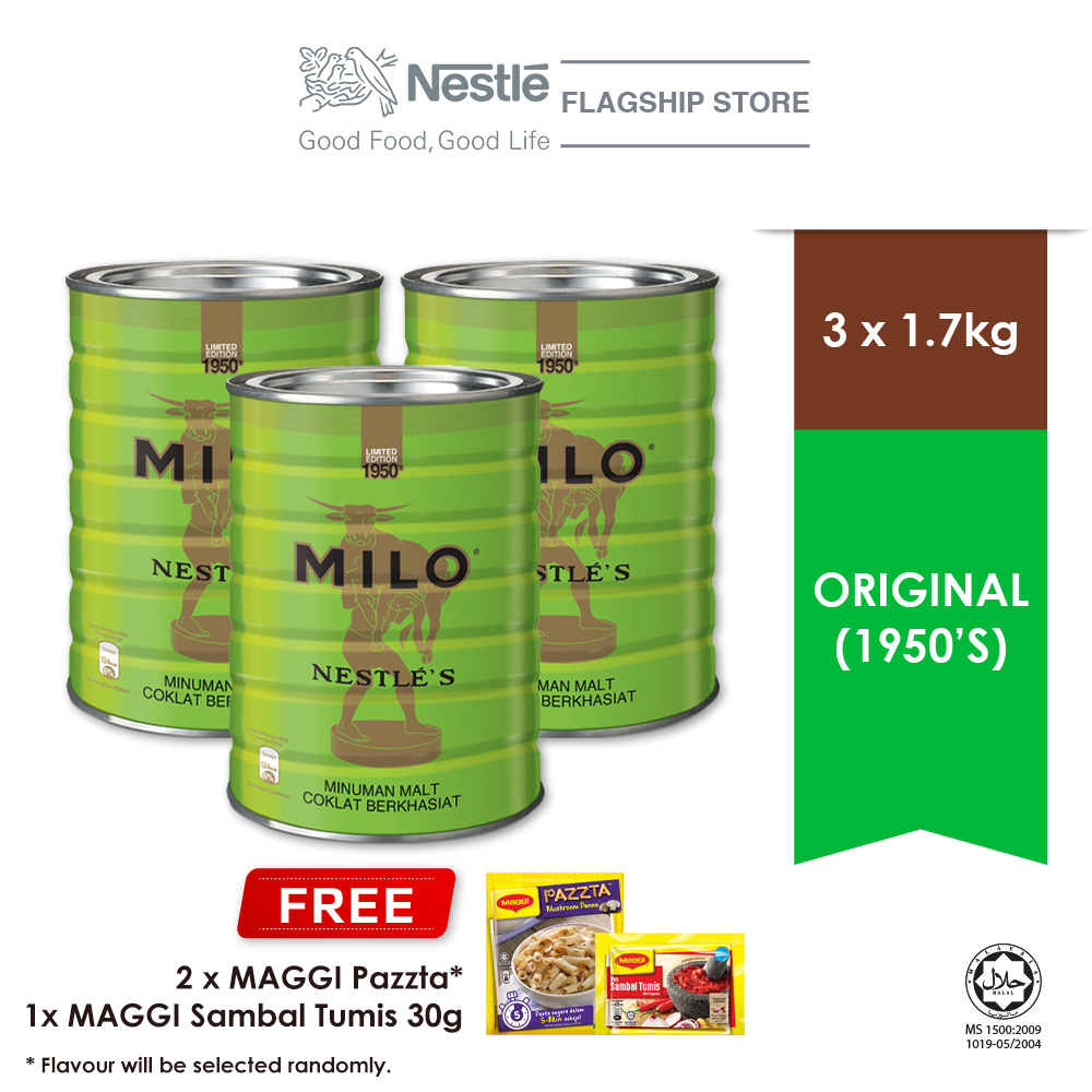 MILO ACTIVE GO Limited Edition Vintage Tin (1950) 1.7kg, Buy 3 Free 2 Maggi Pazzta