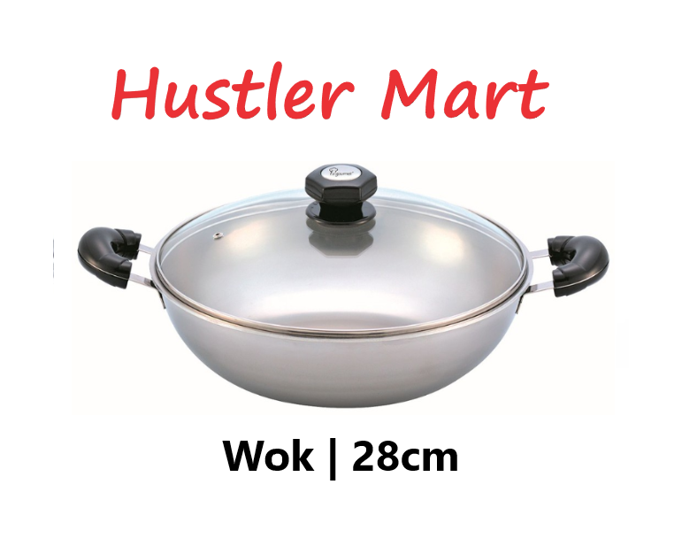 La Gourmet 28cm Stainless Steel 5ply Elite Wok with Tempered Glass Lid