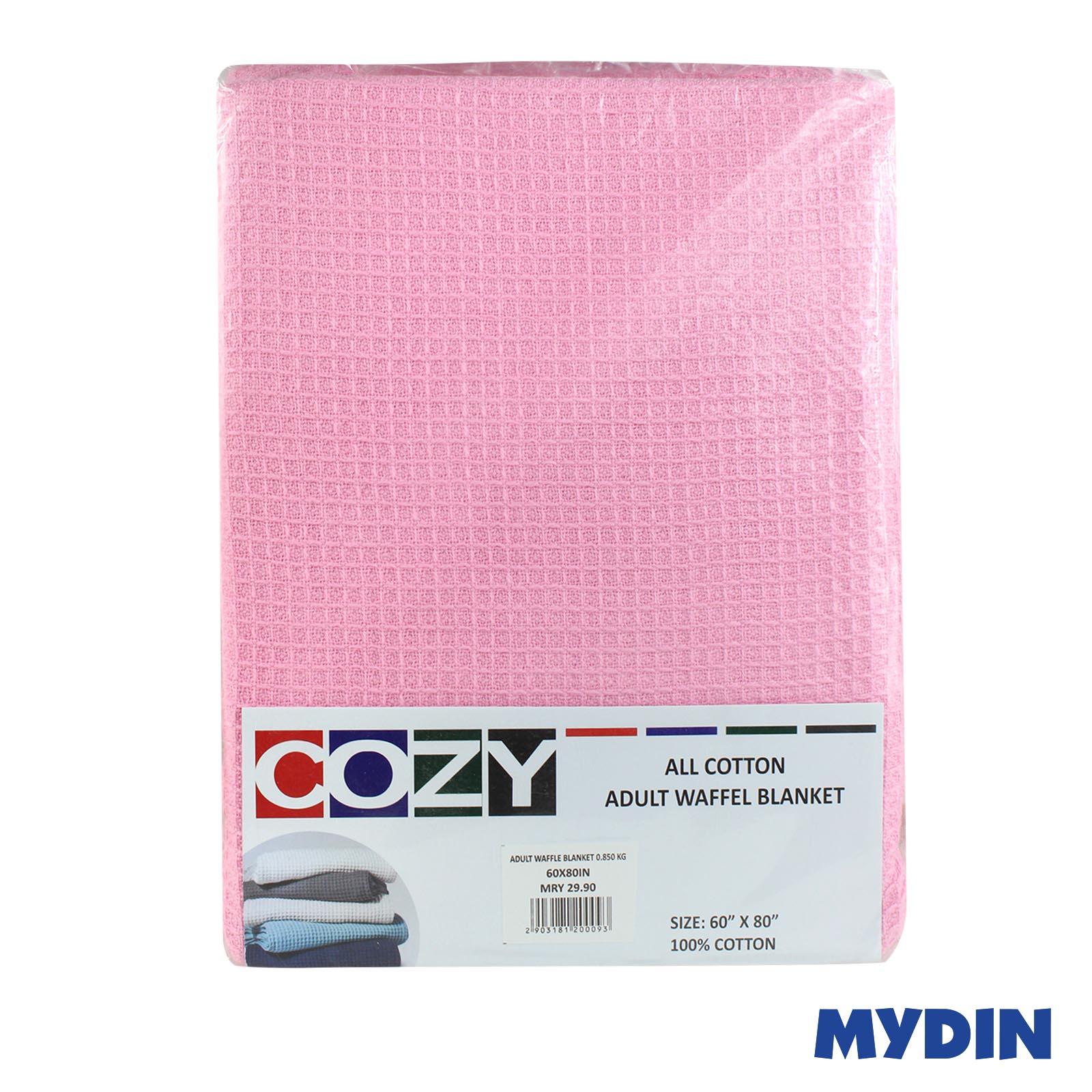 "Cozy All Cotton Adult Waffel Light Pink Blanket 60""x80"" 850g BLWF01"