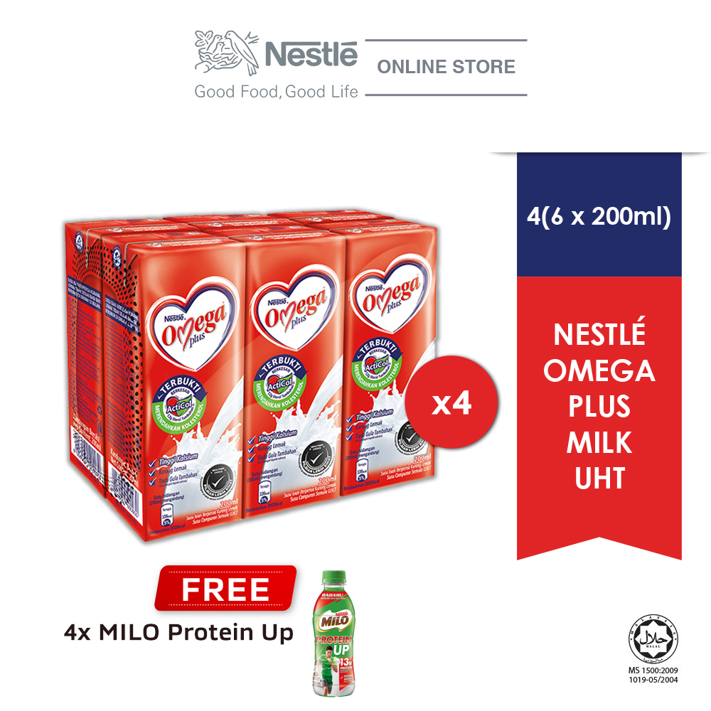 NESTLE OMEGA PLUS 6 Packs, Buy 4 Cluster Free 4 (Unit) Milo Protein Up (Exp Date: Dec'2020)