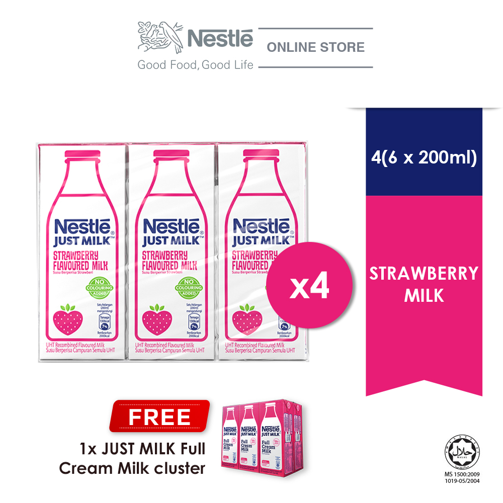 Nestle Just Milk Strawberry UHT 6x200ml, Buy 4 Free 1 Cluster JUST MILK Full Cream (Exp: Dec'20)