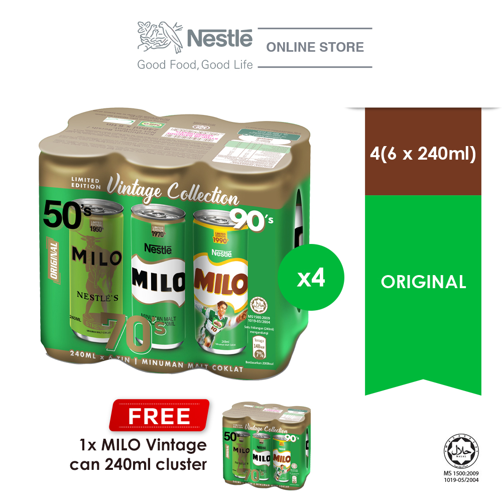 Milo Original 240mlx6, Buy 4 Free 1 Cluster Milo Can 240ml