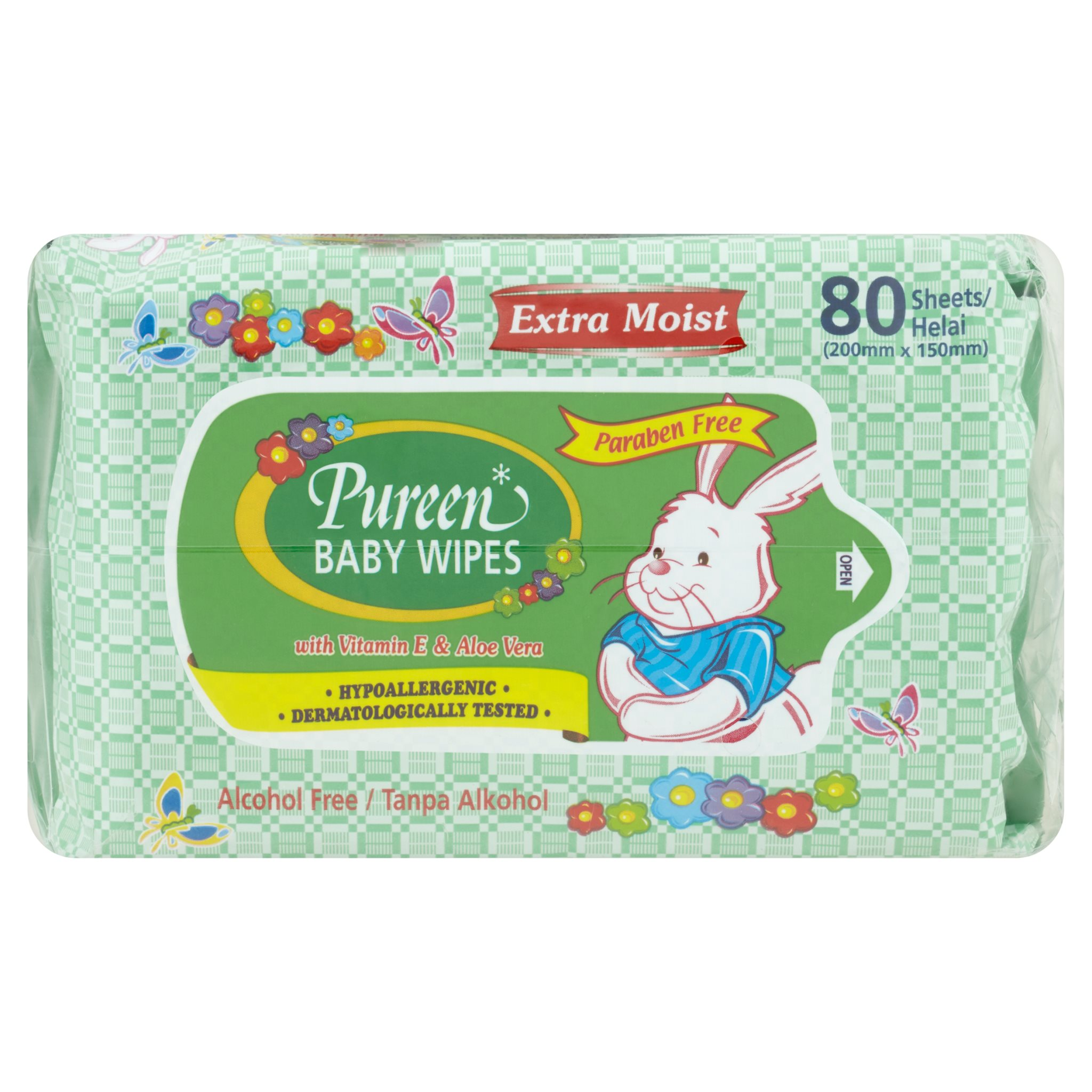 Pureen Baby Wipes – Extra Moist with Vitamin E and Aloe Vera (80's x 2)