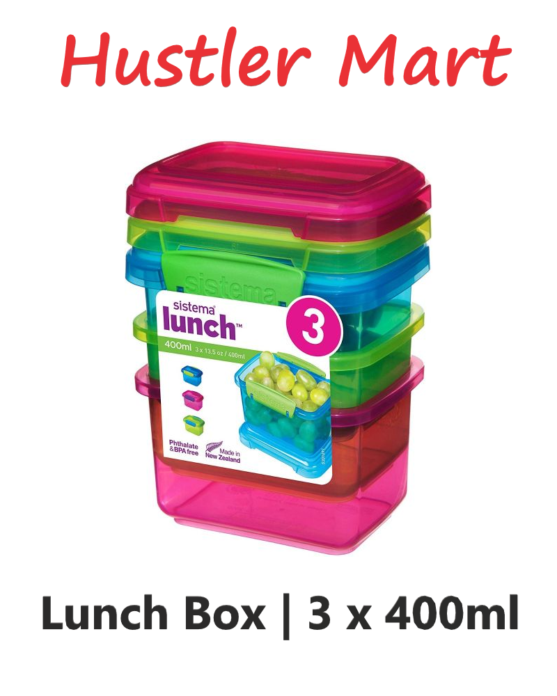 Sistema 400ml Rectangular Lunch Colour 3 Pack
