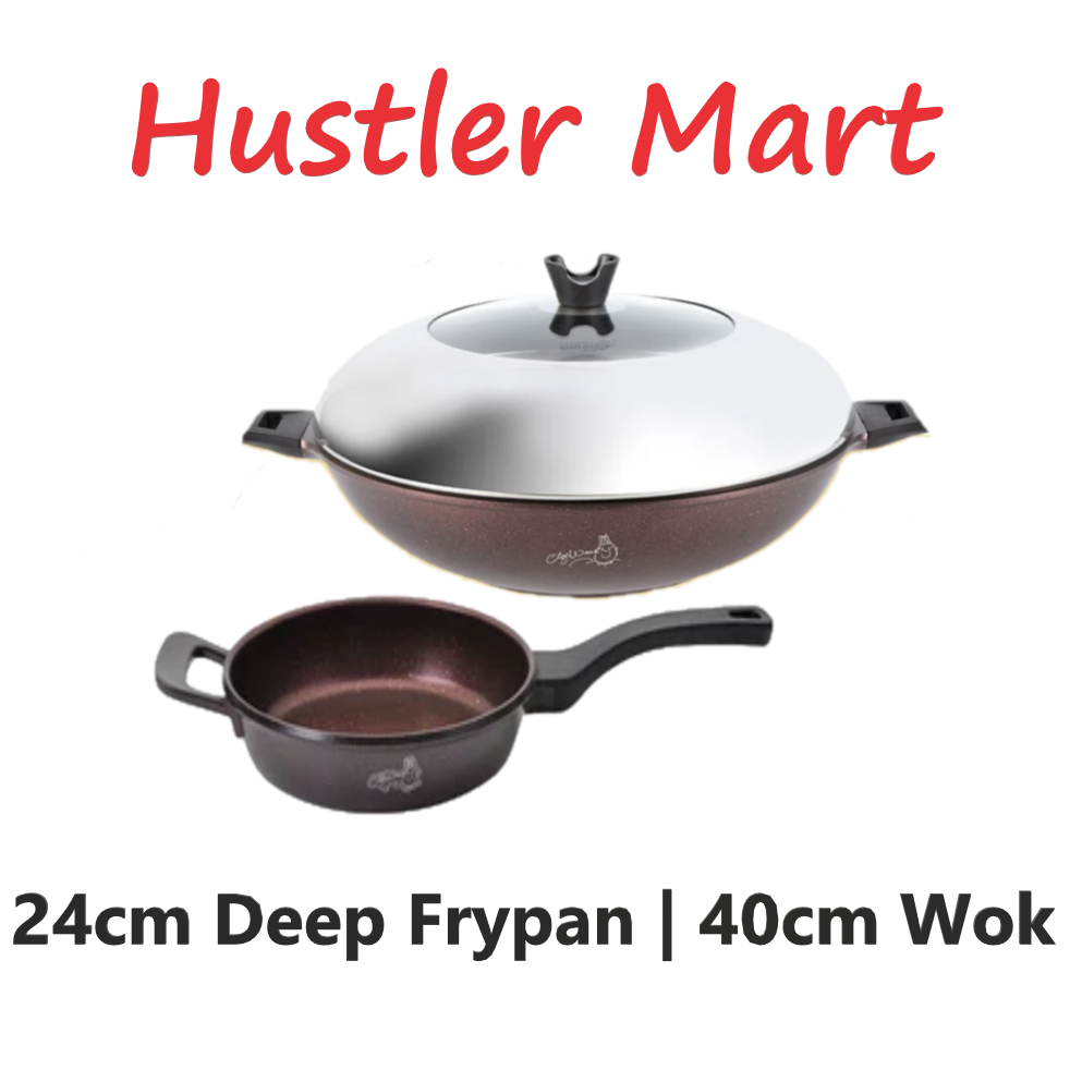 La Gourmet Shogun Chef Wan Collection 40cm Volcano Wok + 24cm Deep Frypan