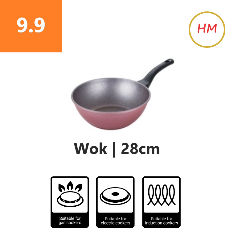High Quality Marble Non-Stick 28cm Wok with Lid