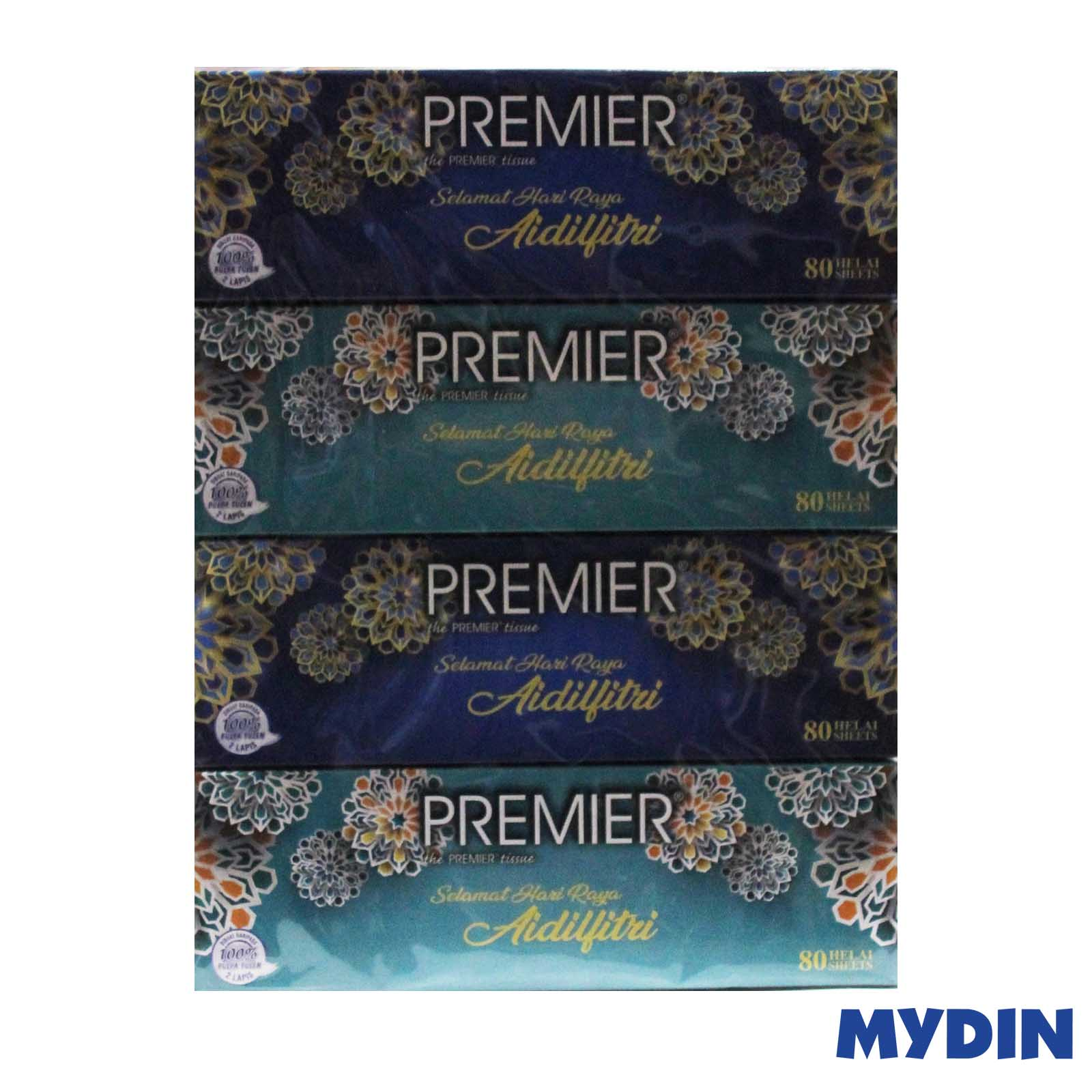 Premier 2 Ply Facial Tissue (80 sheet x 4 Box)