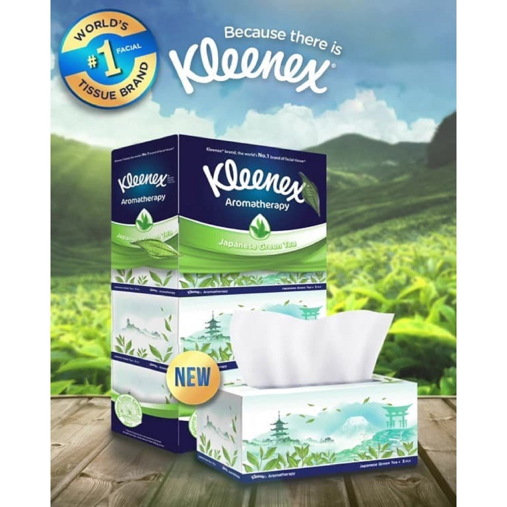 Kleenex Aromatherapy Japanese Green Tea Scented Soft Facial Tissue 3ply (110s x 4's)
