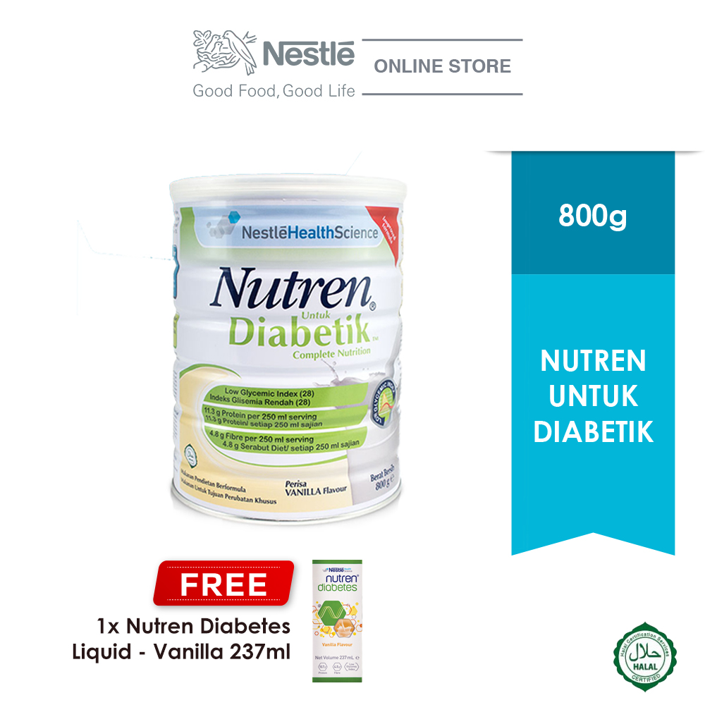 NUTREN UNTUK DIABETIK® 800g, Buy 1 Free 1 NUTREN® DIABETES Liquid 237ml (Exp: Dec'20)