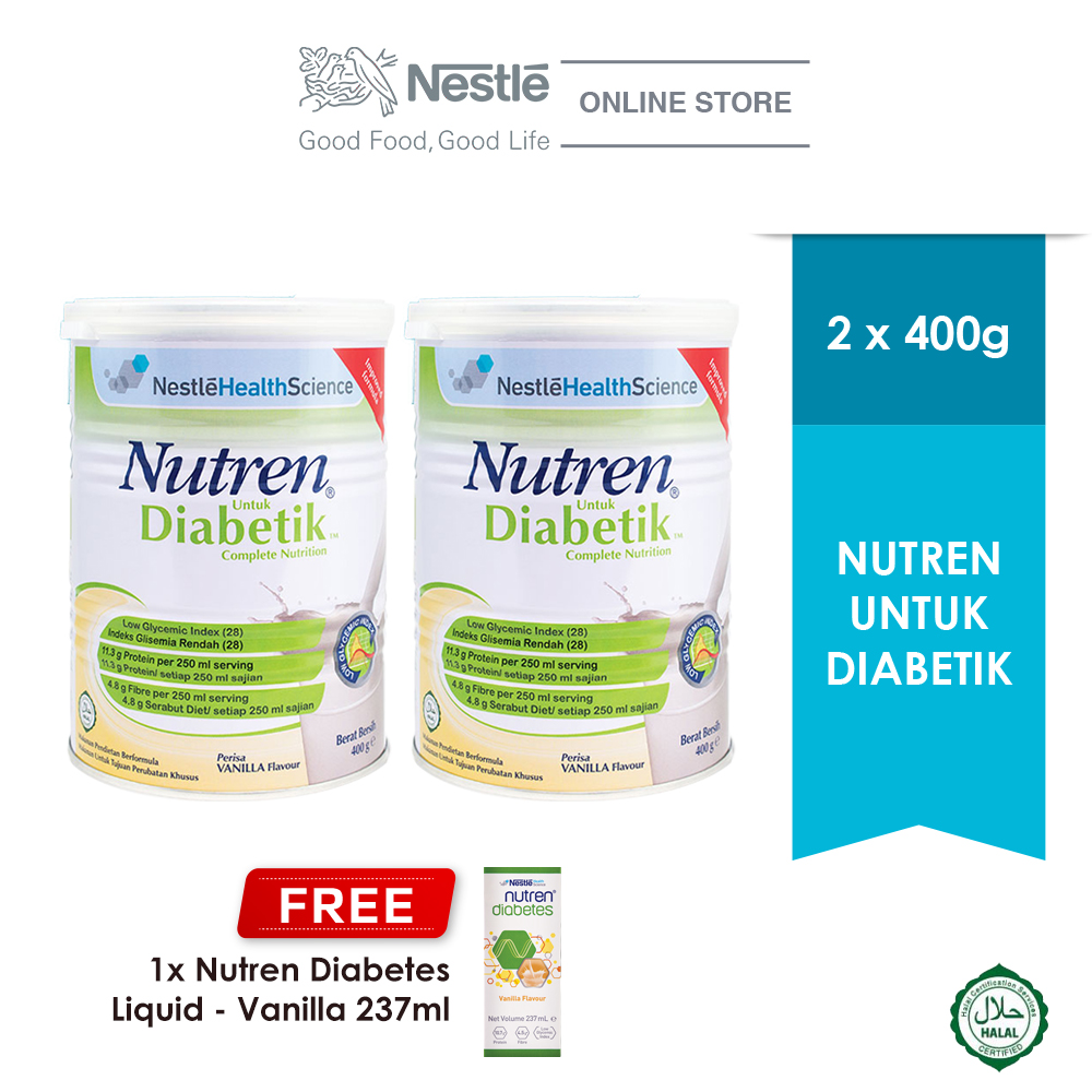 NUTREN UNTUK DIABETIK® 400g, Buy 2 Free 1 NUTREN® DIABETES Liquid 237ml (Exp: Dec'20)